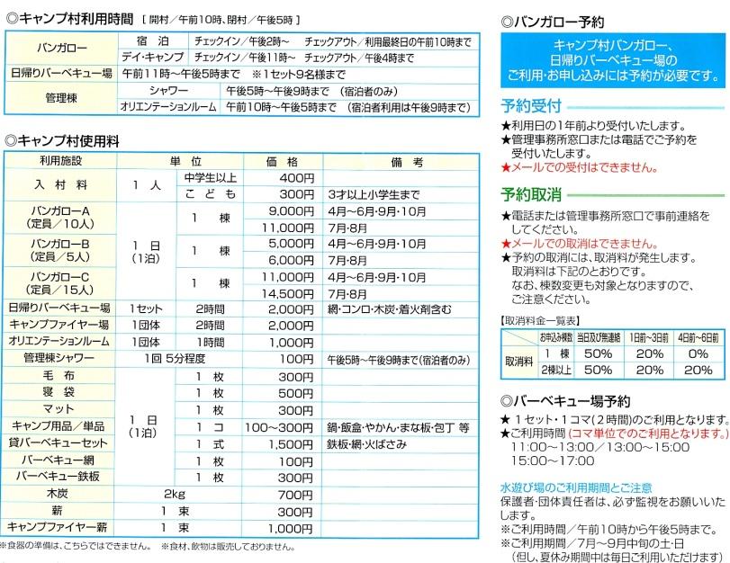 キャンプ村詳細情報