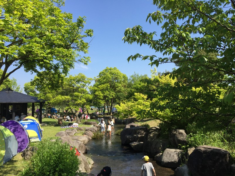 吉野ケ里公園で水遊び