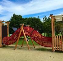 今津運動公園の綺麗な芝生広場やアスレチックで遊んできました。