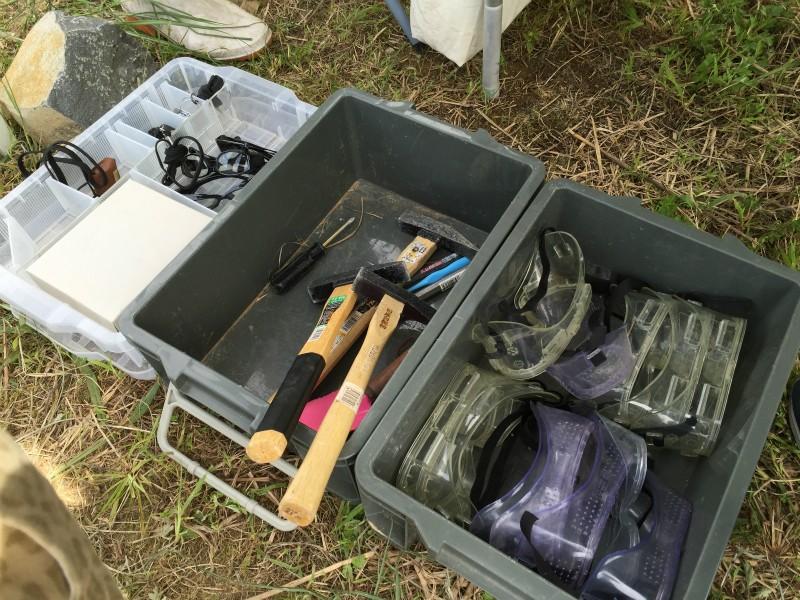 化石採掘の道具