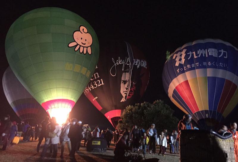 熱気球の夜間係留
