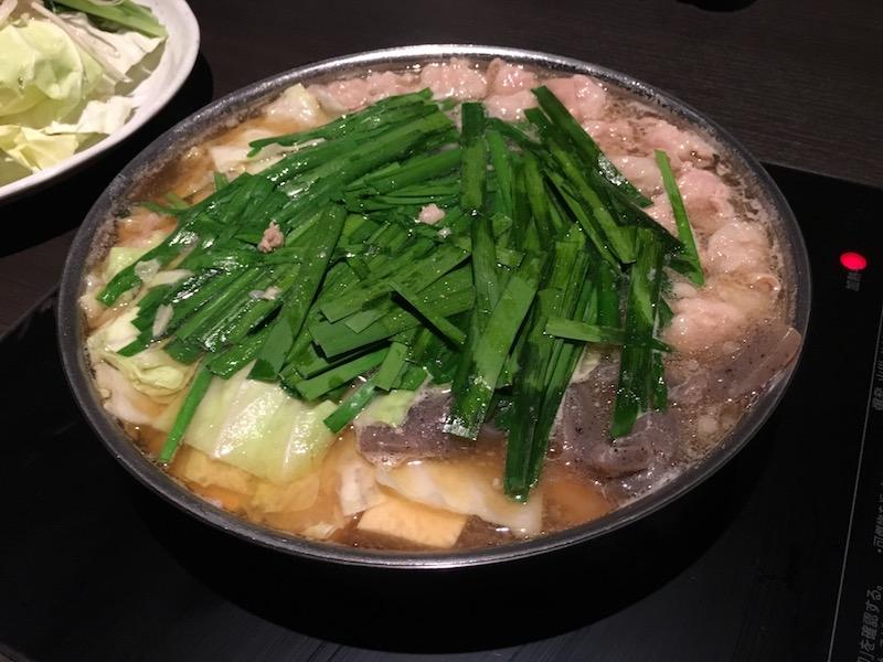 醤油味のもつ鍋